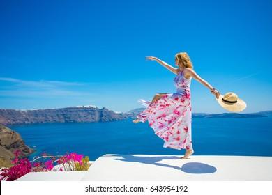 Free happy woman enjoying life in summer