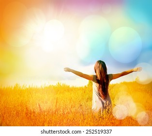 Free Happy Woman Enjoying Nature and Freedom. Beauty Girl Outdoor. Sunny Day. Happy Girl.