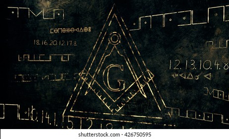 The Free Masonic Grand Lodge Sign and Illuminati Secret Characters in an Abstract Drawing Grungy Design Editorial Illustration