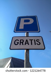Free Parking Sign With Blue Sky