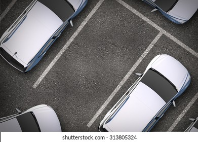 Free Parking Spot Between Other Cars. Top View. Urban Transportation Illustration.