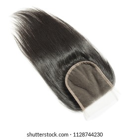 Free part black straight human hair weaves extensions lace closure