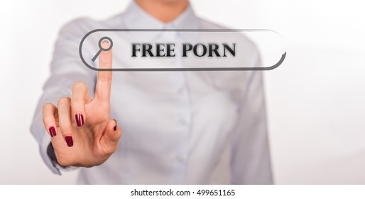 FREE PORN written in search bar on virtual screen