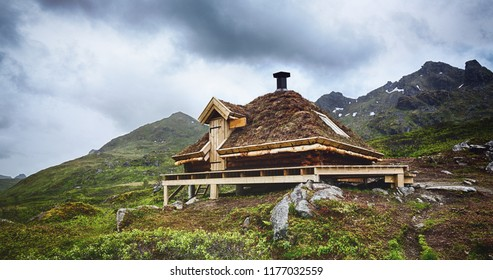 A free for the public emergency shelter hut along a hiking trail on the Lofoten Islands, Norway.