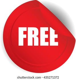 Free red sticker, button, label and sign set.