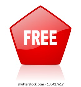free red web glossy icon