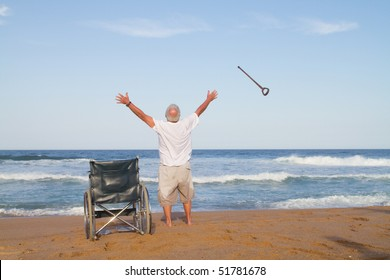 I'm free. senior man get up from wheelchair and throw away his walking cane