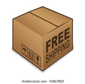 Free Shipping box icon isolated on white background