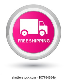 Free shipping isolated on prime pink round button abstract illustration