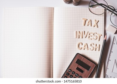 free space , money and stationary for finance , business , tax and investment concept background