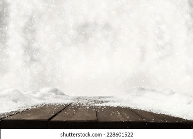 free space on table and white snow and frost