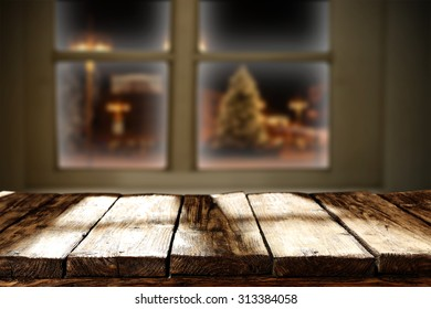 free space and xmas time with old wooden window