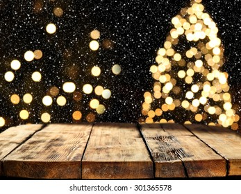 free space and xmas tree and wooden board of empty space