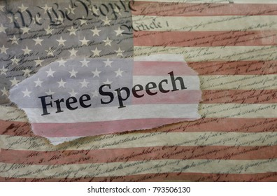 Free Speech news headline on a copy of the  United States Constitution and the US flag