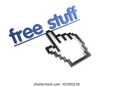 free stuff. 3d rendered inscription. Link and finger, pointer. Isolated on white