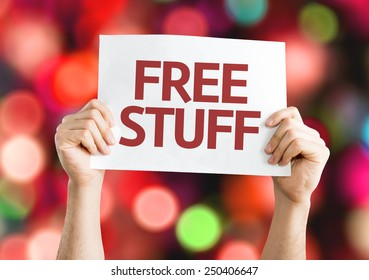 Free Stuff card with colorful background with defocused lights