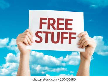 Free Stuff card with sky background