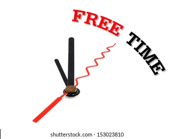 free time concept clock isolated on white background