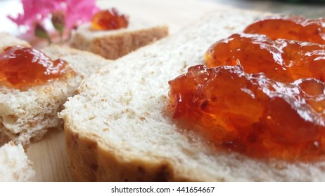 Free time snack whole wheat bread red strawberry
