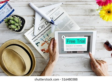 Free Trial Download Subscribe Newsletter Blog Content Concept