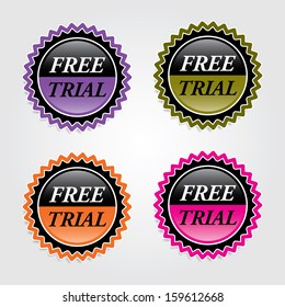 Free trial signs, labels, sticker, icons, and symbol - jpg format.