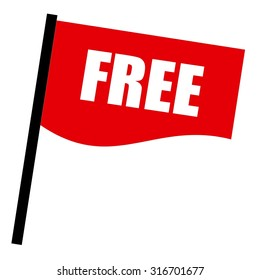 Free white stamp text on red flag
