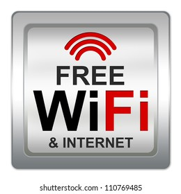 Free WiFi and Internet Icon With Square Metallic Style Icon Isolate on White Background