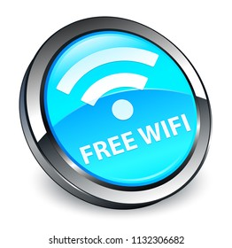 Free wifi isolated on 3d cyan blue round button abstract illustration