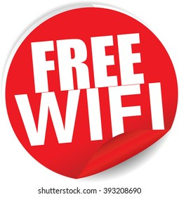Free wifi red Label, Sign, stickers and symbol.