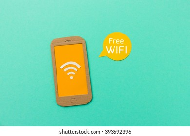 Free wifi sign with smartphone and signal icon - image with space for text to add your wifi access information