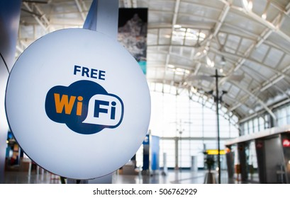 Free wi-fi signboard in airport, wifi zone
