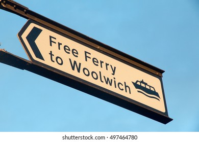 Free woolwich ferry sign, River Thames, Woolwich, London,