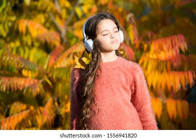 Free your mind. online education. ebook for children. enjoy autumn day. inspiration get from nature. love nature and music. enjoy sun. fall mood. small girl listen audio book. little child in headset.