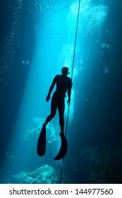 Freediver in the cenote