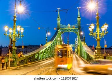 Freedom Bridge in Budapest at night, Hungary
