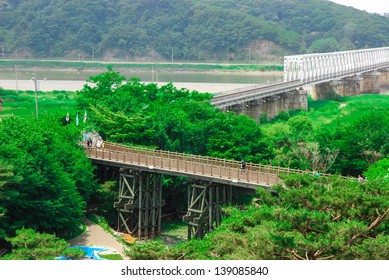 """Freedom bridge DMZ, Korea. The Bridge of Freedom got its name when 13,000 war prisoners shouted """"Hurray Freedom!"""" as they returned home crossing the bridge following the Armistice Agreement in 1953."""