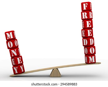 """Freedom or money? Comparing on the scales. The words """"freedom"""" and """"money"""", made up of red cubes, weighed on the scales. Concept of selection."""