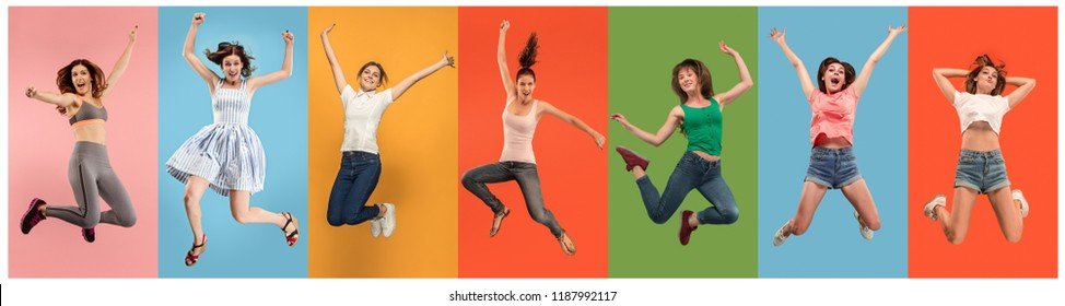 Freedom in moving. pretty happy young women jumping and gesturing against orange studio background. Runnin girl in motion or movement. Human emotions and facial expressions concept. Collage