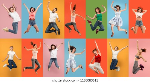 Freedom in moving. pretty happy young women and man jumping and gesturing against colorful studio background. Runnin girl in motion or movement. Human emotions and facial expressions concept. Collage