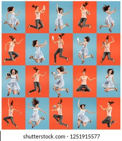Freedom in moving. pretty happy young woman jumping and gesturing against colorful studio background. Runnin girl in motion or movement. Human emotions and facial expressions concept. Collage