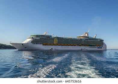 Freedom of the Seas - Villefranche, France - 09 May 2017: Royal Caribbean International's cruise ship anchored at the coast of Villefranche as tender prepares to pick up passengers