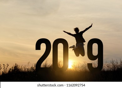 Freedom Silhouette woman and 2019 .Concept of a new year.