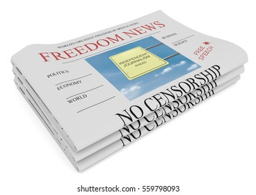 Freedom of Speech News Concept: Pile of Newspapers, 3d illustration on white background