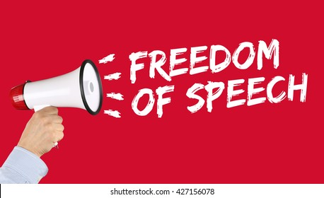 Freedom of speech press opinion expression censorship censored hand with megaphone