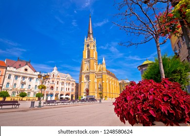 Freedom square and catholic cathedral in Novi Sad view, Vojvodina region of Serbia
