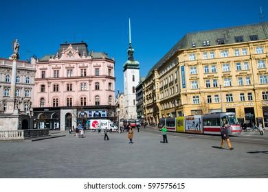 Freedom Square, City center of Brno in Czech Republic, March 08th 2017, Editorial photo