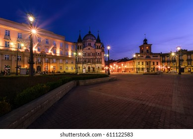 Freedom Square in Lodz, Poland, Europe after sunset.