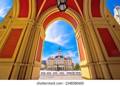 Freedom square in Novi Sad arches and architecture view, Vojvodina region of Serbia - Shutterstock ID 1248580600