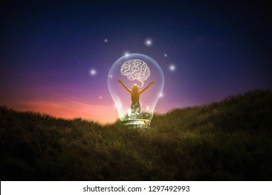 Freedom of thought Creativity, ideas of ideas and innovation / Night sky background / Blue tone concept - Image
