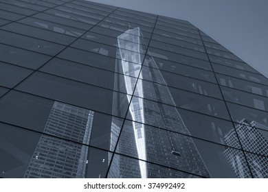 Freedom Tower reflected at One World Trade Center